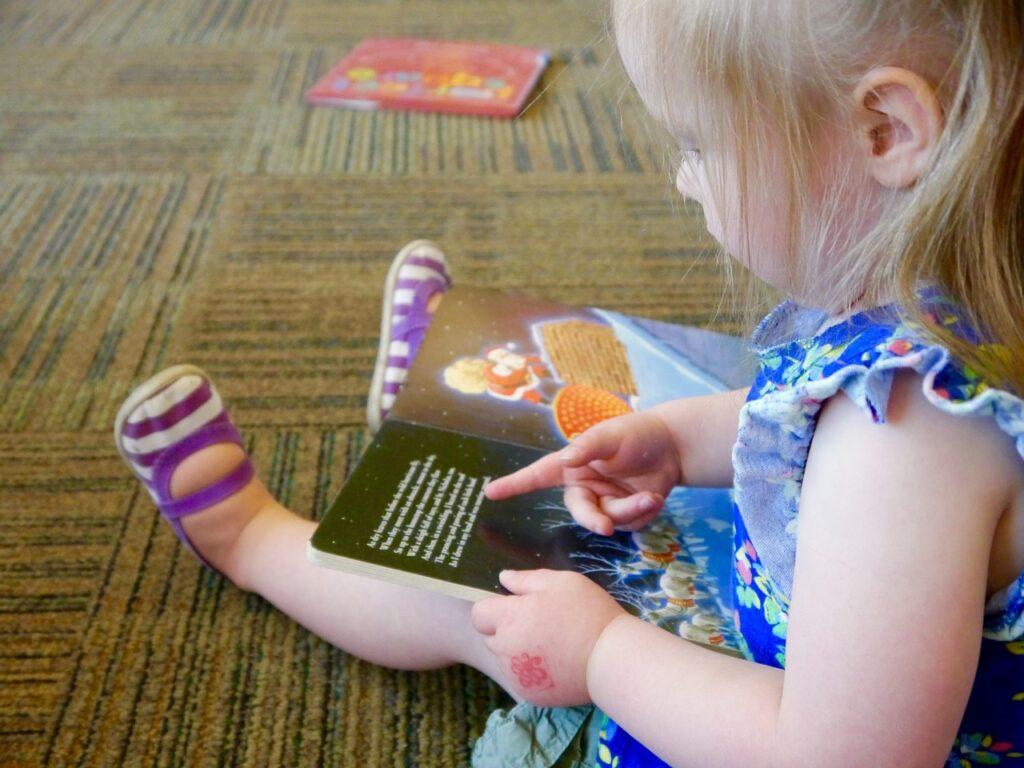 reading, girl, toddler